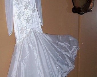 Vintage Beaded Satin Mermaid Wedding Gown with Pearls and Silver Glass Bugle Beads