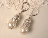 Vintage Lacy Ivory Pearl & Clear Rhinestone Ball Silver Leaf Bridal Dangle Earrings, Drop Earrings Bridesmaids Jewelry Gifts, Rustic Wedding