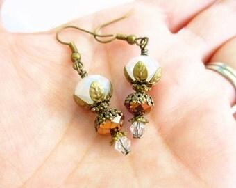 White & Bronze Crystal Layered Flower Petal Earrings