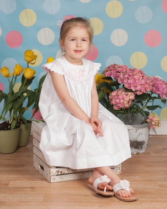 Girls White Pique Monogrammed Easter Dress with Angel Sleeves, Choose Rick Rack Trim Color