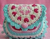 Hearts purse - crochet pattern, purse, DIY
