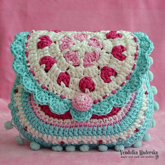 Crochet Bag Pattern : Hearts purse crochet pattern purse DIY por VendulkaM en Etsy