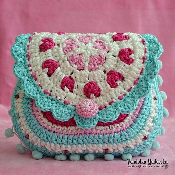 Hearts purse crochet pattern purse DIY por VendulkaM en Etsy