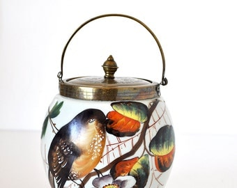Vintage Biscuit Barrel Painted Glass