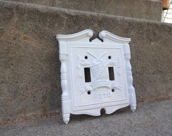 Vintage White Cast Iron Double SwitchPlate Wall