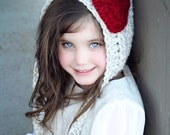 Valentine Hat, Childrens Hat, Crochet Pixie Hat, Heart Hat, Crochet Heart, Baby Hat