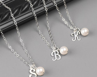 Bridesmaid Jewelry SET OF 8 Personalized Necklaces Sterling Silver Initial Necklace Bridesmaids Necklace with Initial Personalized Jewelry