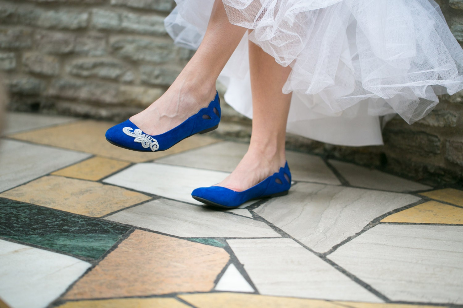 wedding flats cobalt blue ballet flats bridal shoes with