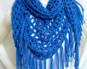 Royal Blue Fringed Shawl, Hippie Shawl, Crocheted Triangle Shawl, Boho Wrap, Women's Accessories, Handmade in the USA, Ready to Ship