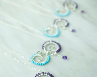 Turquoise and Amethyst Wire Wrapped Pendant Necklace, Sterling Silver, Bridesmaid Gift, Purple and teal, Handmade