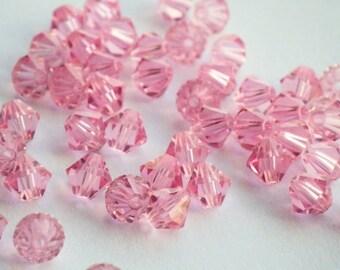 Vintage Swarovski Crystal Beads, Light Rose, Article 5301, 5mm Light Rose Beads, 50 Vintage Crystal Beads