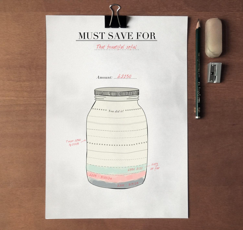 Savings Tracker Stylish Mason Jar Simple By Crossbowprintables