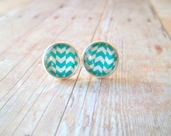 W A V E S - Teal Blue and White Chevron Triangle Waves Photo, Glass Cab,  Silver Plated Stud Earrings, 12mm