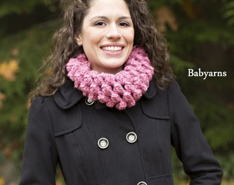 Chunky COWL Scarf Circle in PINK, Full texture Cowl Scarf, GIFT Fall Winter Cozy Neckwarmer Cowl, Chunky Cowl Scarflette Scarf, Chunky Scarf