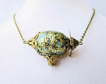 Green and Teal Steampunk Airship Necklace