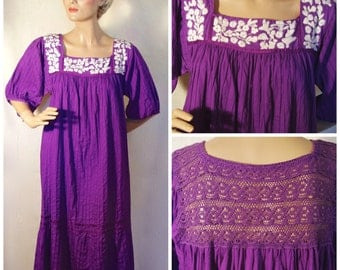 vintage Purple Mexico Folk Embroidery Dress