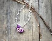 Bellflower Crochet Necklace, Oya Beaded Collar, Purple Statement Necklace, Lilac Pendant, Beaded Crochet Jewelry, Women's Christmas Gift