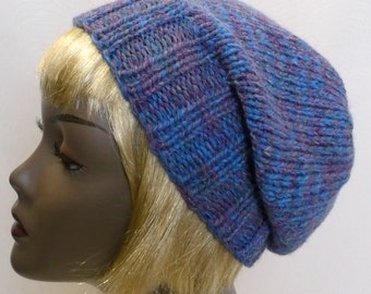 Slouchy Blue Beanie: Hand Knit Slouchy Hat, Wool Hat, Blue Watchcap, Knit Toque, Man's or Woman's Hat, Ready to Ship
