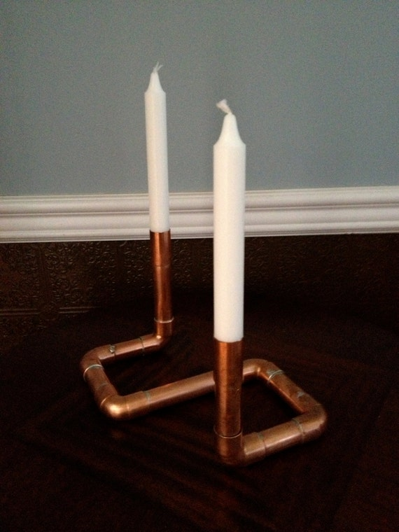 Copper Centerpiece Industrial Candle Holder Pipe