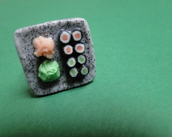 Sushi Plate Ring - Fimo Food