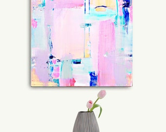 Abstract Painting Print Pink, Large Abstract Art, Pink Painting Print, Pastel Canvas Wall Art Print, Pink Geometric Modern Art Home Decor