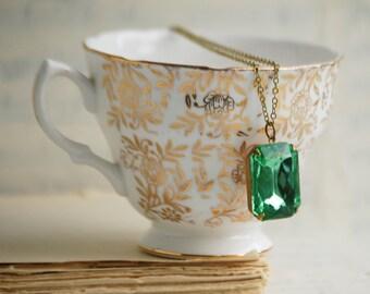 Emerald RHINESTONE Necklace May Birthstone Evergreen Crystal Emerald Cut Rhinestone