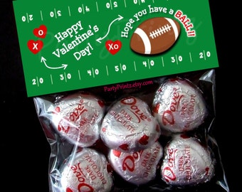INSTANT DOWNLOAD - Printable Valentine Treat Bag Toppers  - Football Valentine's Day