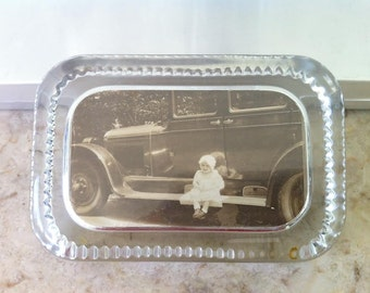 Vintage Glass Photo Paperweight, 1929 Photo, Baby Peggy, 1927 Cadillac, Black & White Photograph,  Running Board, Vintage, Free Shipping