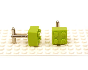 Lime green colour 2 x 2 brick cufflinks. Cufflinks made with LEGO(R) bricks.    Cuff links Wedding gift