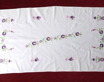 Cute White Embroidered Table runner, Table Linen Floral Tablecloth, Embroidery dresser scarf Pink Green Flowers, Hand made, White Table top