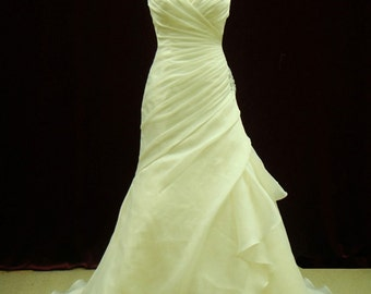 Ultra Slimming and Flattering Organza Pleated Wedding Dress with Straps Custom Handmade to your Measurements