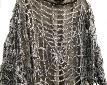 Halloween Costume Women, Halloween Spider web Clothing, One Size Poncho Cape Womens Goth Hippie Grunge Clothes Creepy Cute Charlottes Web