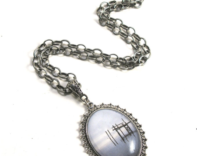 """Rhode Island Dock of the Bay, a Photograph in a Domed Glass Cabochon in an Antique Silver Filigree Pendant on a Antique Silver Chain 16""""-18"""""""