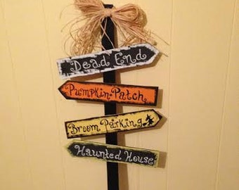 Whimsical Halloween Yard-Road Signs on 32 inch stake