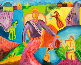 Original Oil Painting On Large Canvas - 'Salomon's trial' - Biblical Story - Naive painting - 70x90 cm