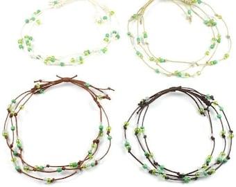 Handmade 3 String Adjustable Green Bead Surf Anklet