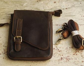 Handmade Dark Brown Leather Mini Messenger Bag, Shoulder Bag, Crossbody Bag, Hip Bag, Travel Bag, Purse.