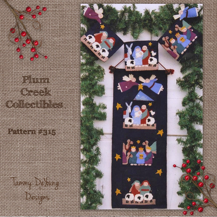Nativity Pattern Christmas Applique Banner by PlumCreekPatterns