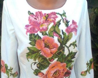 Gabardine dress embroidered Czech beads, 3/4 length sleeve.