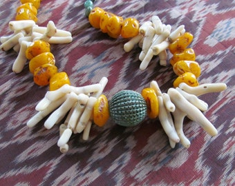 Amber Chunks, Natural Bamboo Coral branch, with Verdigris Focal artisan made necklace by Bianca Terranova