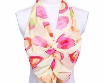 Womens Scarf, Apple Print Scarf, Chiffon Scarf, Voile Scarf, Cotton Scarf, Fashion Scarf, Shawl