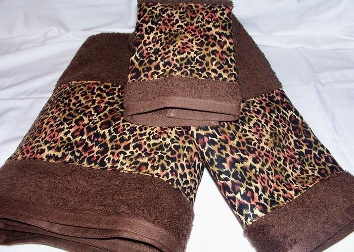 Leopard Cheetah Bath Towels Spots Animal Skin Print Java Brown