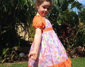 Girls Springtime Handmade Peasant Dress. Sizes 12/18m, 3 & 5.