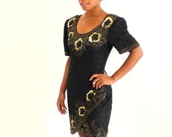 vintage 80s black & gold sequin dress . beaded party dress . NYE dress . 1980s sequin party dress. Laurence Kazar silk dress . beaded silk