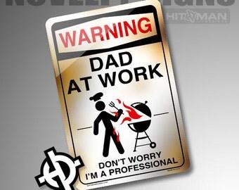 Personalized Metal Sign -NS1001- Custom Metal Sign Airbrush Metal Sign Metal Parking Sign - Warning Dad At Work