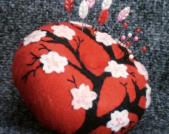 FREE SHIP Large Japanese cherry blossoms pincushion made to order
