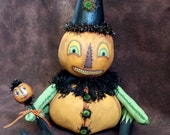 Halloween, Folk Art Doll, One Of A Kind. Original Art, Pumpkin