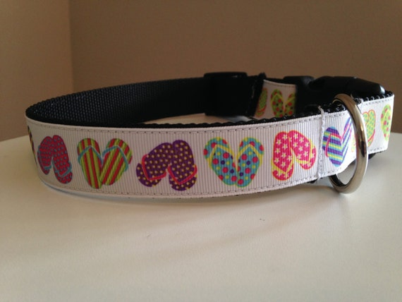 Summer Flip Flops 1 inch Dog Collar