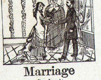 Marriage Mennonite Children's Picture Dictionary 1890 Vintage Victorian Engravings Great For Scrapbooking 107