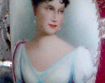 Porcelain Demitasse Chocolate Cup Beautiful Woman Handpainted Cameo Portrait Fancy Antique Serving